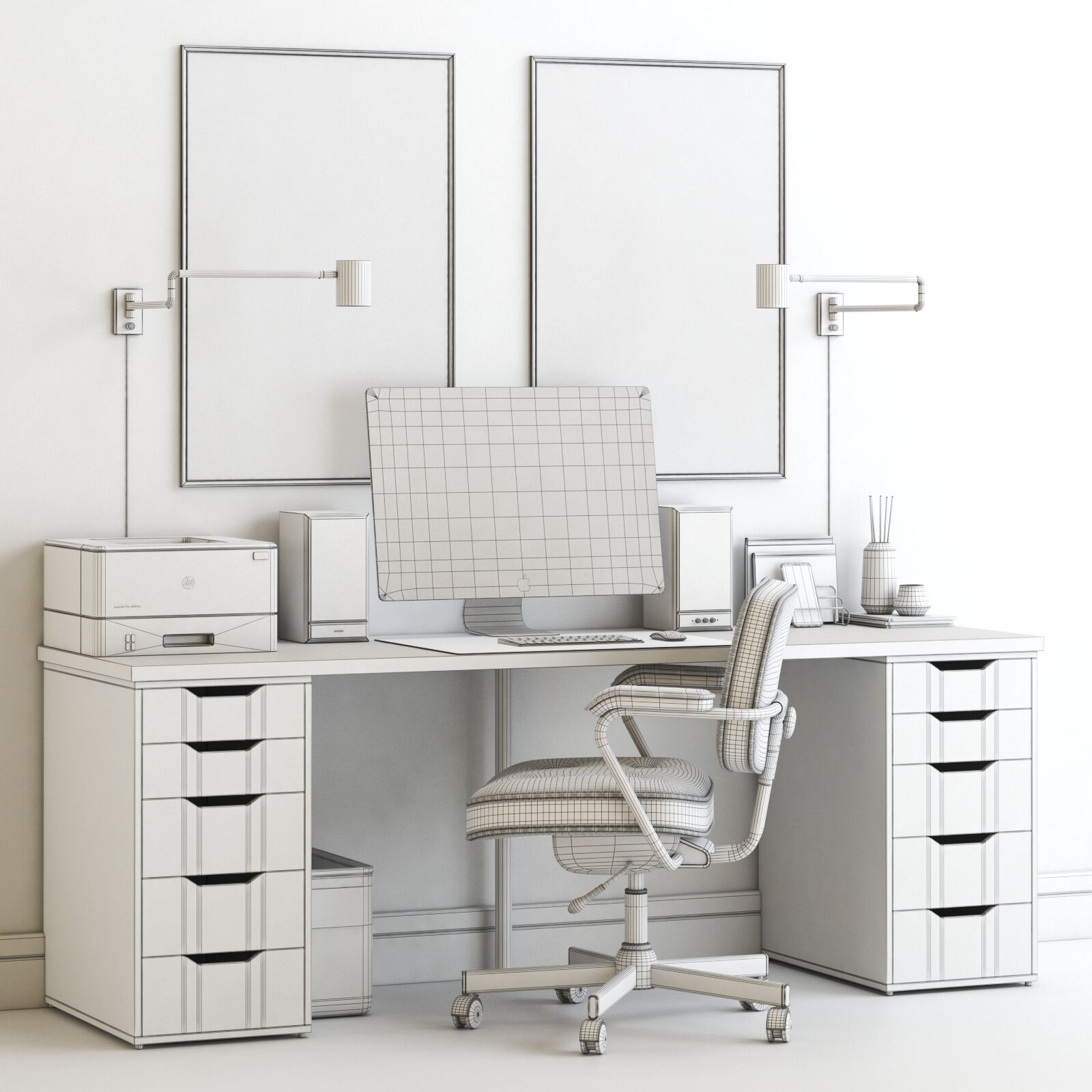 Image of: Ikea Workplace With Alex Table And Alefjall Chair 3d Model Download 3d Model Ikea Workplace With Alex Table And Alefjall Chair 19009 3dbaza Com