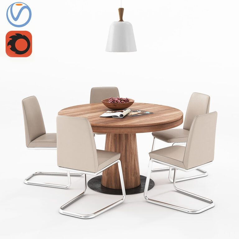 Boconcept Granada Dining Table And Boconcept Lausanne Chair 3d
