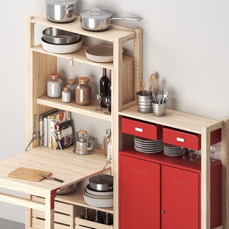 Ikea Ivar Shelving With Table Cabinets Drawers And Kitchen