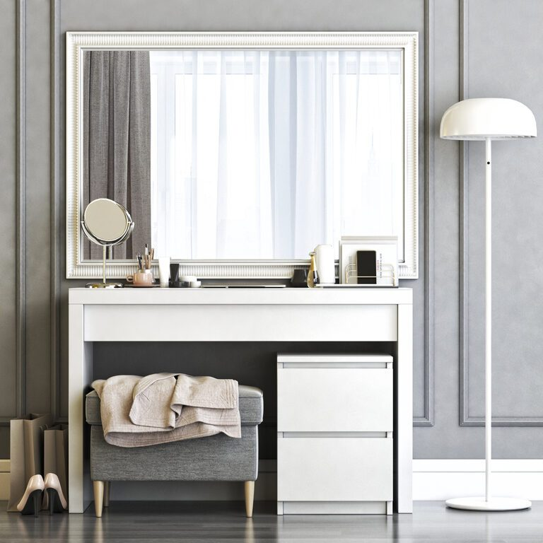 Ikea Malm Dressing Table 67466 3d, Ikea Dressing Table With Mirror And Lights